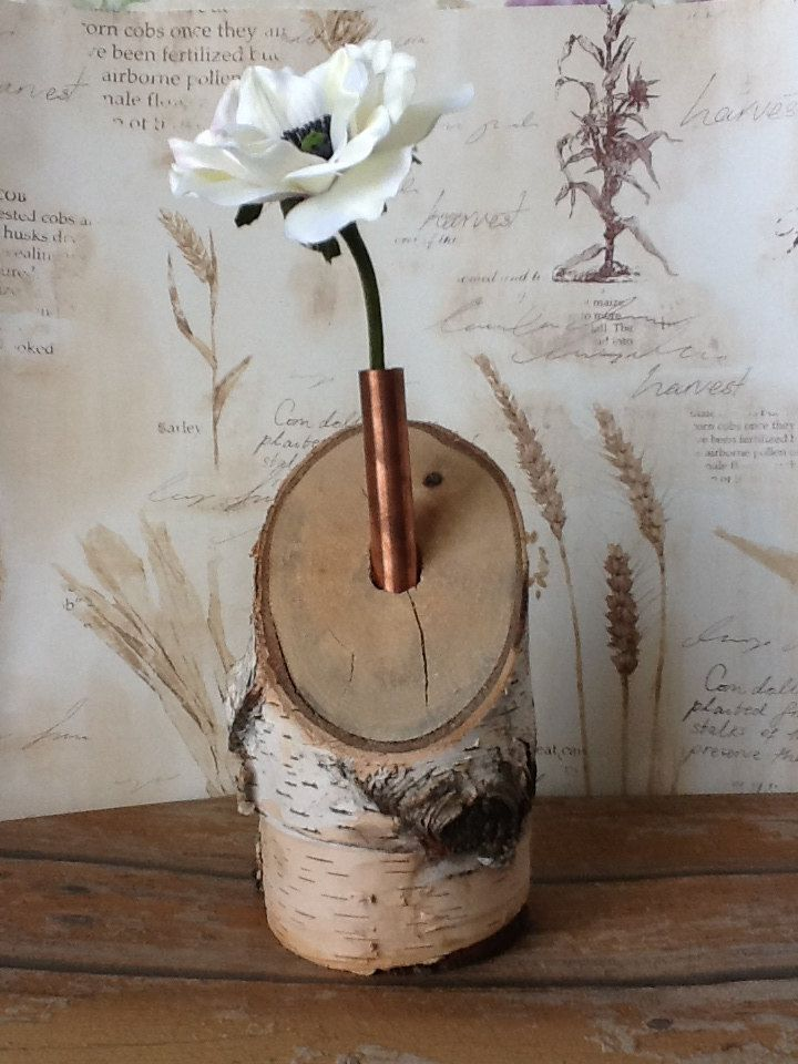 Rustic Wood Birch Candle Holder with copper Wedding Party Event Cabin Decor Display Flower Holder Natural Tree Branch Log. $18.00, via Etsy.