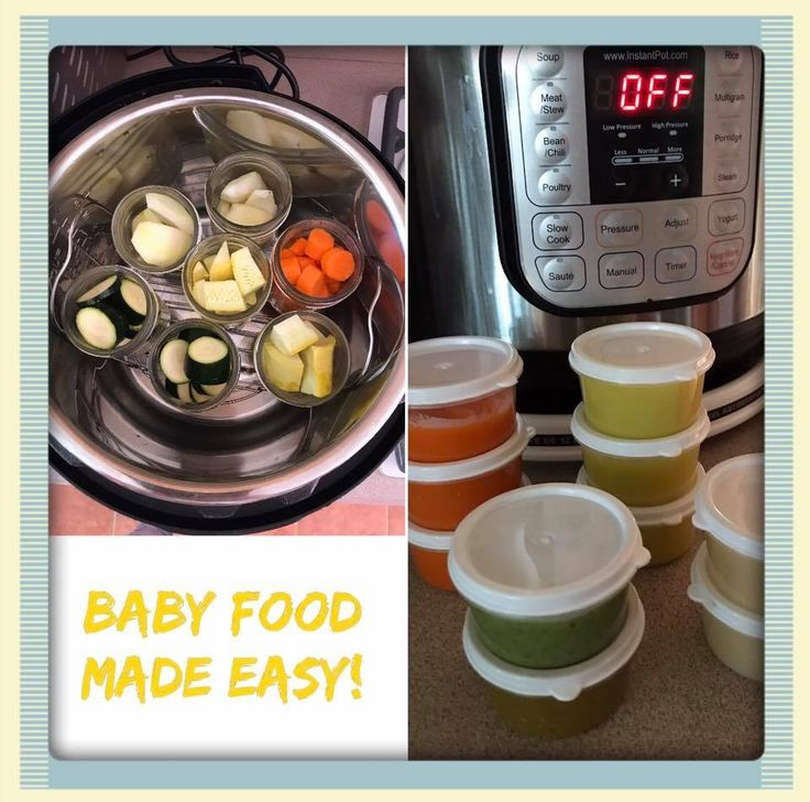 Baby Food in the Instant Pot. Fruit and Veggies in canning jars on trivet, 1 cup water, 6 minutes steam, NPR, stick blender in jars, done. Picture shows zucchini, apples, squash, carrots, pears.