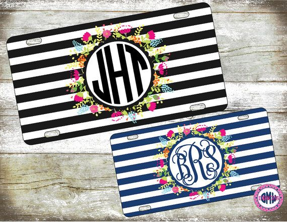 Rugby Stripe Floral Monogrammed Car by OhMyWordDesigns on Etsy