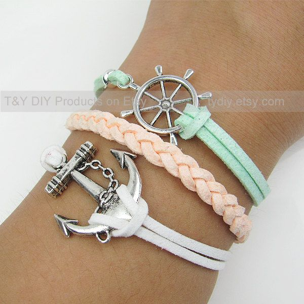 Anchor Bracelet, Sailing Helm Bracelet, Charm Bracelet, Thin Leather Cord Braid Bracelet Adjustable Weave Bangle with Extension Chain. $6.88, via Etsy.
