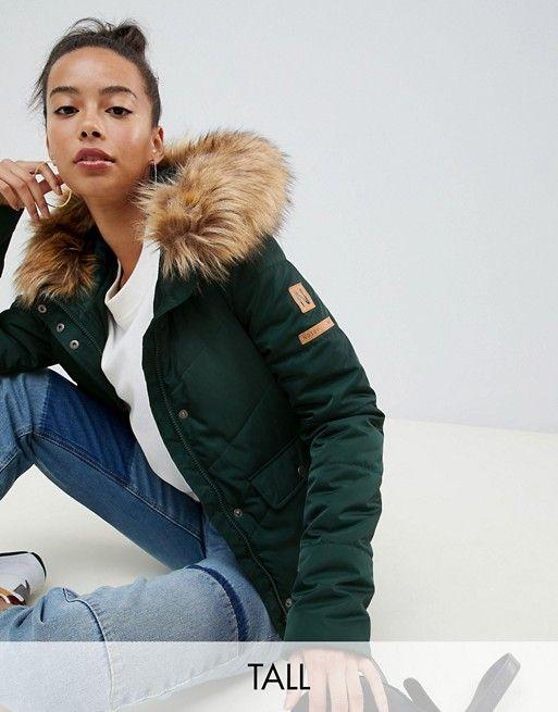 Women's Clothing Grey ASOS TALL Hooded Slim Coat with Zip