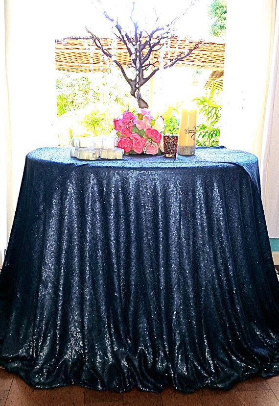RENT Or Purchase New, Navy Blue Glitz Sequin Table Cloth, Navy Sequin  Tablecloth, Navy Blue Sequin Wedding Table Cloth