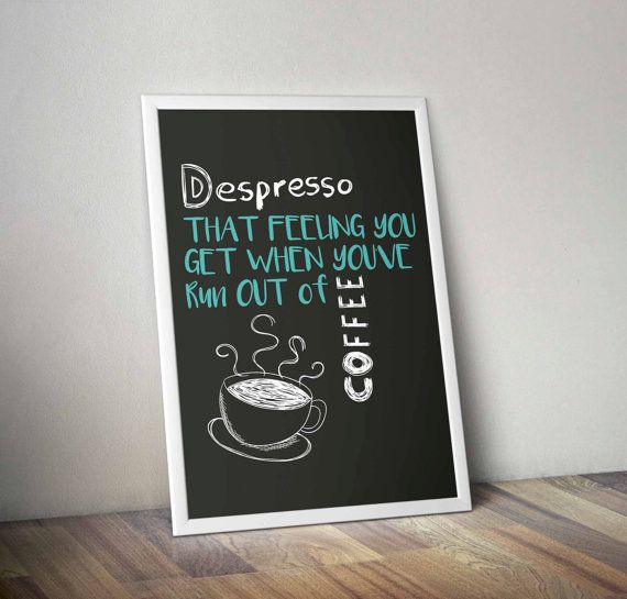 Depresso Coffee ArtCoffee Print Coffee by NicoletteAnneDesign