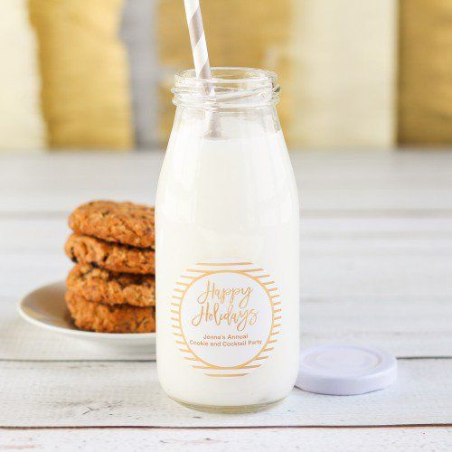 These personalized glass milk jars are a simple and elegant way to serve drinks to your guests.
