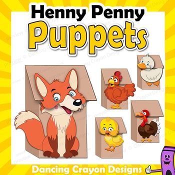 Henny Penny / Chicken Little characters - printable paper bag puppet templates. Fun craft project for kids. Make your own puppets and put on a puppet show or play.