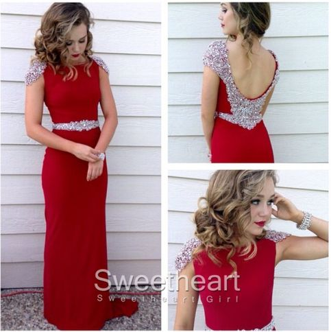Red Chiffon sequin cap sleeve Long dress