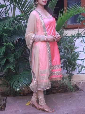 Peach pure silk Kurta Set with Golden floral cutwork | Sweta Sutariya
