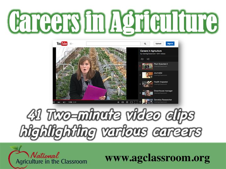 Link to 41 two-minute video clips highlighting careers in agriculture and natural resources.