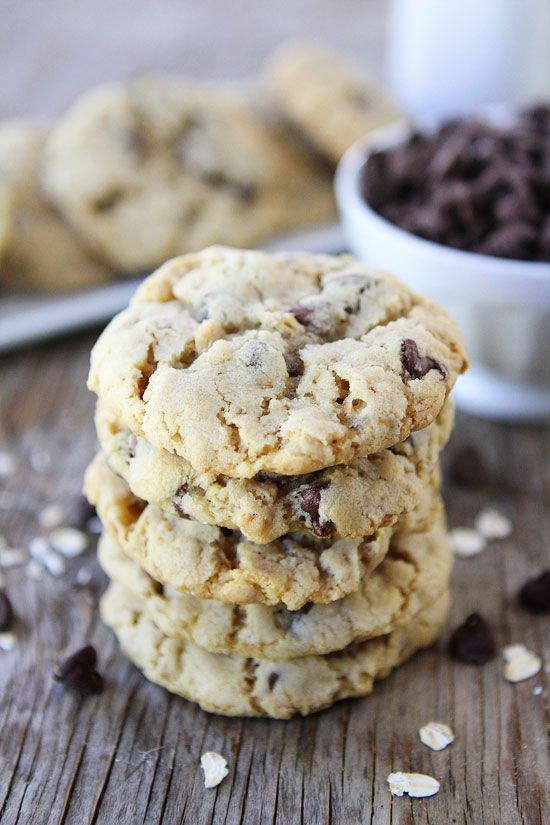 Oatmeal Chocolate Chip Cookie Recipe on twopeasandtheirpod.com The BEST cookie recipe! We make these all of the time! #cookies