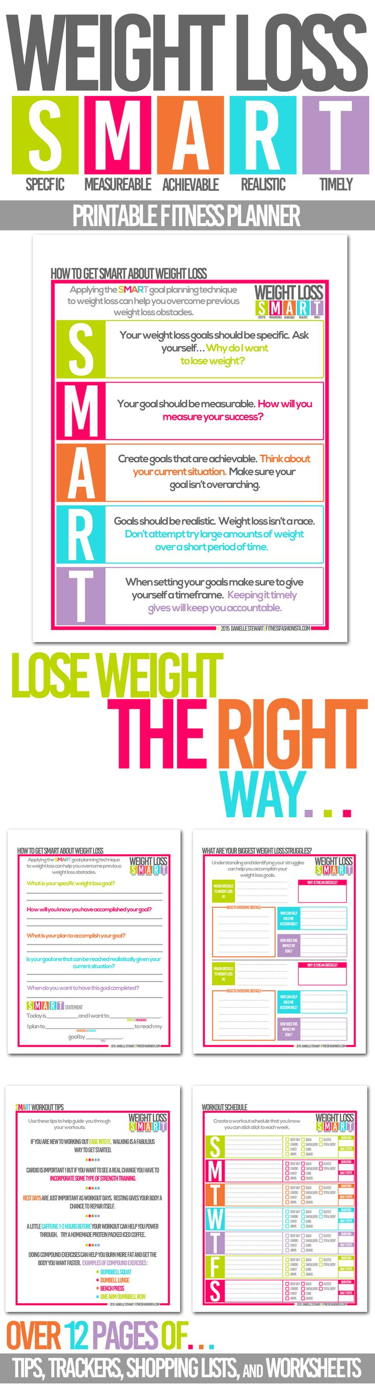 SMART Weight Loss Fitness Planner Printable - Fitness Fashionista