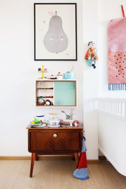Cute little homemade toy kitchen.