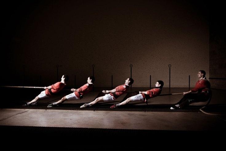 Lucia Herrero  Five men training at sokatira.