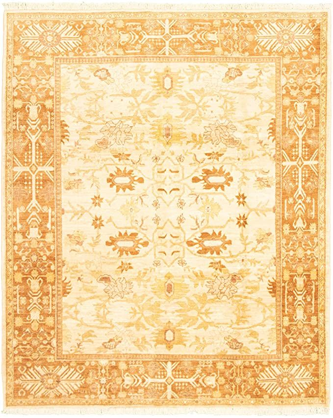 Ecarpet Gallery Large Area Rug For Living Room Bedroom Hand Knotted Wool Rug Chobi Finest Bordered Ivory Rug 8 0 Quot Wool Area Rugs Area Rugs Ivory Rug