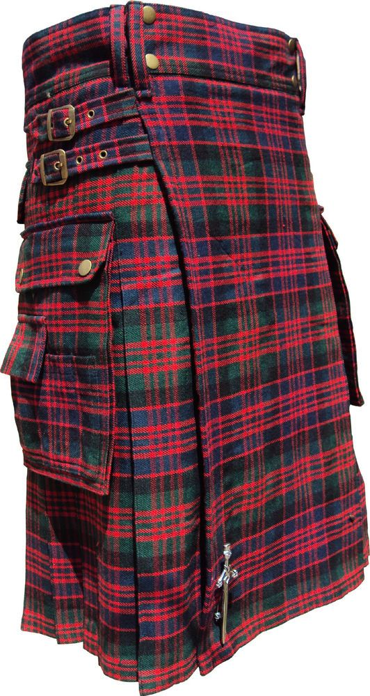 Scottish Highland Wear New Macdonald Tartan Modern Fashion Pocket ActiveMen Kilt #HamsteadKilt #ModernPocket