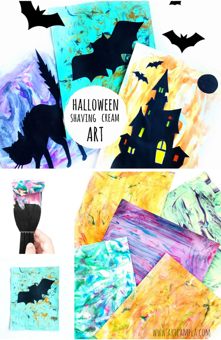 Halloween Shaving Cream Art | Fun Halloween Projects for kids | Free Halloween Printables |