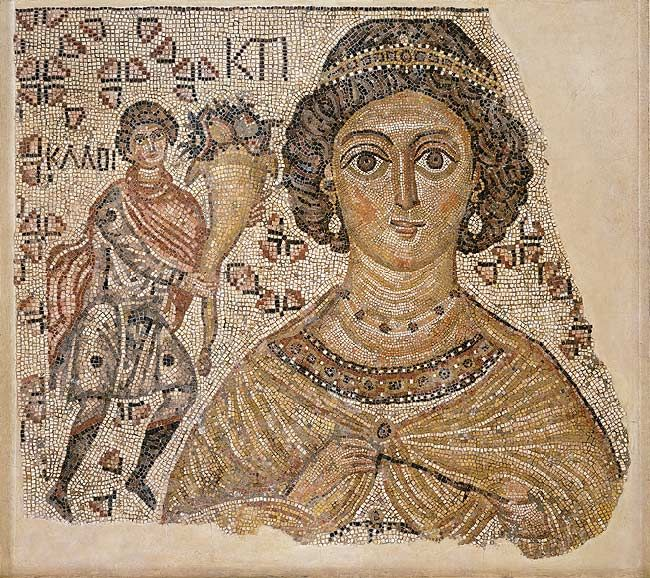 Fragment of a Byzantine Floor Mosaic with a Personification of Ktisis, c. 500 - 550. IB Art Project inspiration.