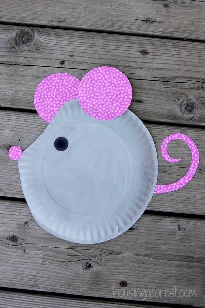 Paper Plate Mouse ~ Easy Kids Craft - süße Maus! #Basteln mit #Pappteller