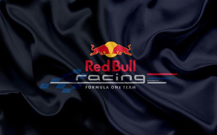 Download wallpapers Red Bull Racing F1, 4k, racing team, Formula 1, logo, silk flag, Formula One Team