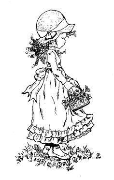 Sarah Key Girl With Basket Of Flowers