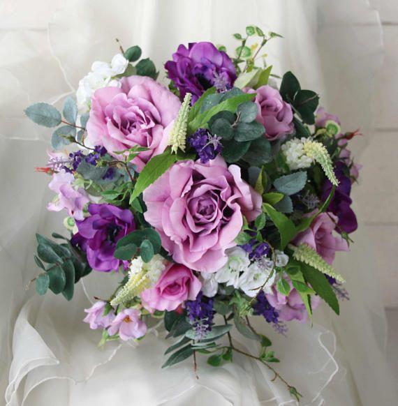 Purple wedding bouquet. Roses, anemones, lavender, blossoms. Silk bouquet, bridal, wedding flowers. Lavender, mauve, lilac, purple flowers