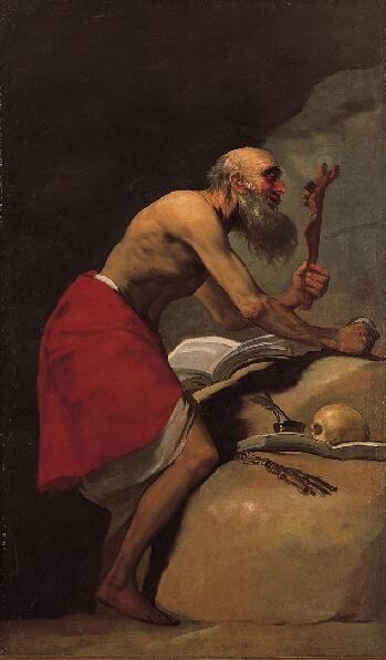 San Jerónimo en penitencia, 1798 Francisco de Goya y Lucientes Español, 1746-1828 Óleo sobre lienzo 75-1/8 x 45 pulgadas (190,8 x 114,3 cm) La Fundación Norton Simon