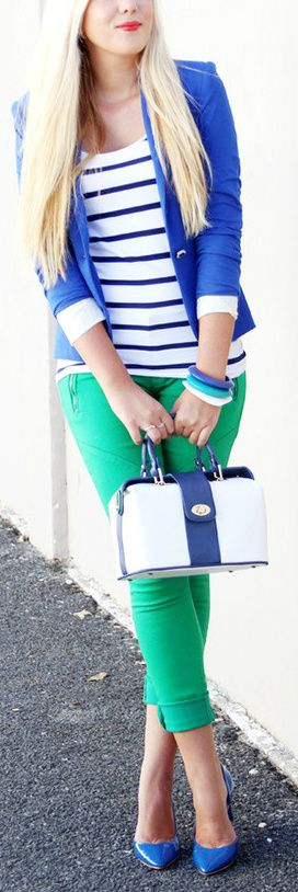 Royal blue blazer + striped top + green pants + royal blue shoes + blue and white bag | Street style outfit