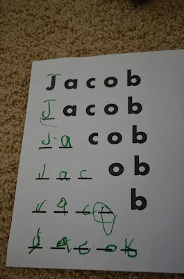 The next activity was Missing Letter Name Practice. We started by singing a little song I sing for Jake to teach him how to spell his name. There was a boy that Mama loved and Jacob was his name O, J, A, C, O, B J, A, C, O, B J, A, C, O, B And Jacob was his name O!