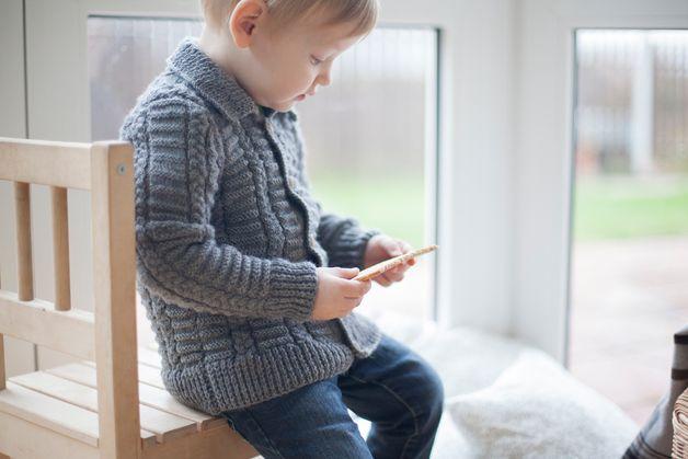 via en.dawanda.com Cardigans – Gray merino wool sweater for children – a unique product by ShnopShnop on DaWanda