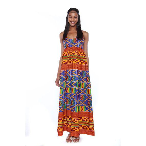 Kente Maxi Dress African Print Dress Long African by MyAshoMarket