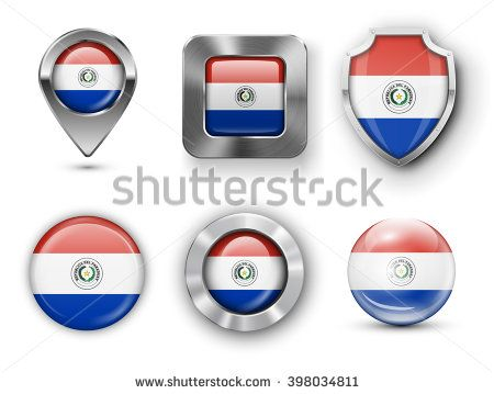 Paraguay Metal and Glass Flag Badges, Buttons, Map marker pin and Shields. Vector illustrations
