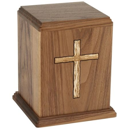 Cross Walnut Urn for Ashes | Wood Urns for Cremation | Available at Stardust-Memorials.com #wood #urn