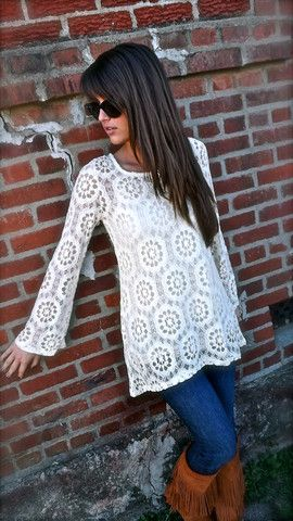 White lace top, skinnies, brown boots