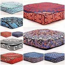 Mandala Floor Pillows Indian Meditation Ottoman Poufs Large Cushion Cover Throw