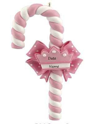 Personalized Pink Candy Cane Heart  Ornament Gift