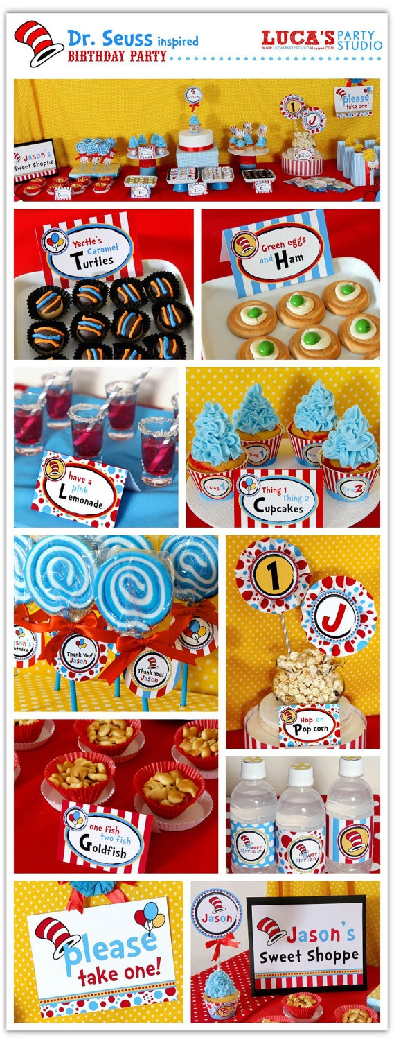 Dr. Seuss Inspired Birthday Party - Personalized Package FULL Collection - DIY PRINTABLE - XA101x. $35.00, via Etsy.