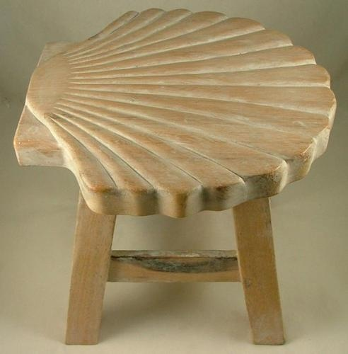 Tropical Scallop Seashell Child Carved Whitewashed Wooden Step Stool | eBay