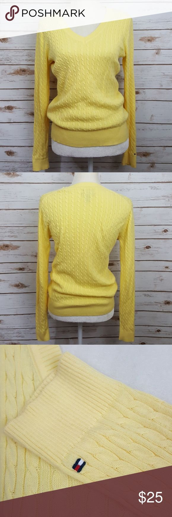"Tommy Hilfiger yellow v-neck cable knit sweater Tommy Hilfiger yellow v-neck cable kint sweater Size medium Flat lay from arm pit to arm pit measures 18"" Shoulder to hem measures 23"" #352 Tommy Hilfiger Sweaters"