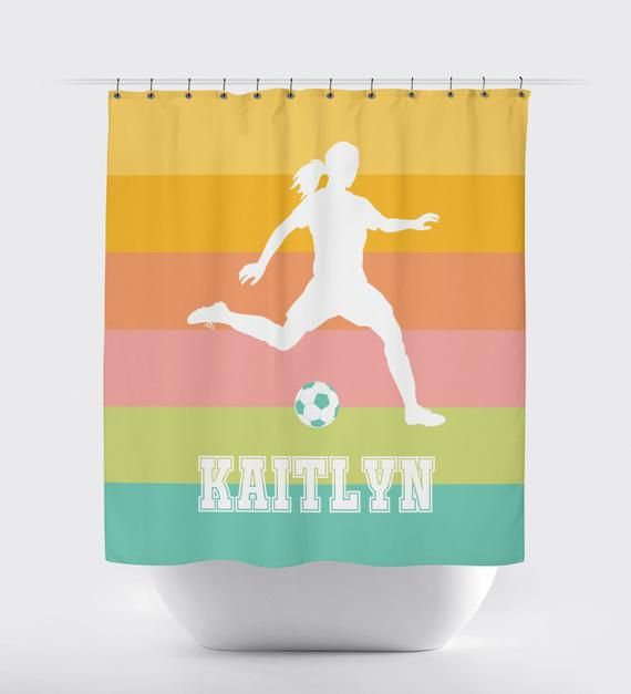 Ombre Soccer Shower Curtain For Girls Stripes Hot Pink White