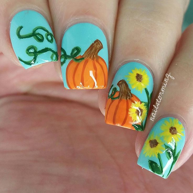 """Pumpkins & Sunflowers  Full video on youtube link in bio  - - Products used: Blue: ""Beach Resort Blue"" Ella + Mila Details: acrylic paint Top coat: Hk…"""