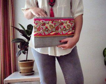 Embrague de bohemio, étnico de embrague, bolso de las mujeres, día de las madres regalo, bolso de noche embrague gris, estilo Boho, estilo indio, Floral bolsa, bolso de embrague