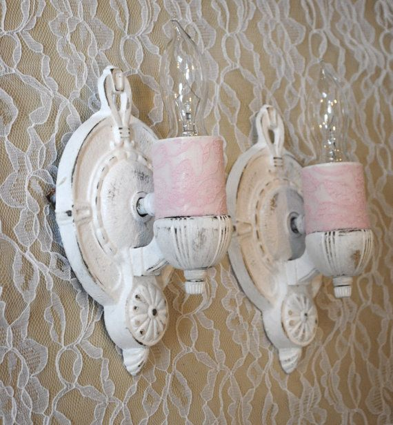 Antique Wall Sconce Set Shabby Chic Pink Lace By