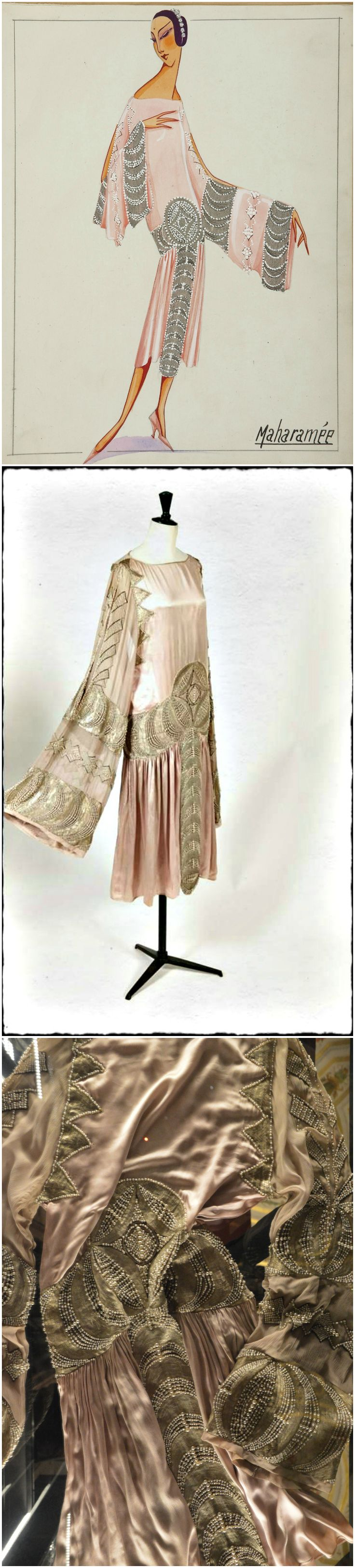 "Dress ""Maharanée,"" by Lanvin, 1925. Photos (Top): Patrimoine Lanvin / Katerina Jebb, 2014; (Middle): via LANVIN on Facebook; (Bottom): Alain R. Truong."