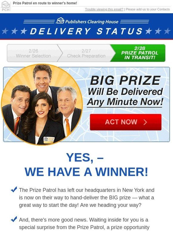 Milled has emails from Publishers Clearing House, inc… | Hi yes i