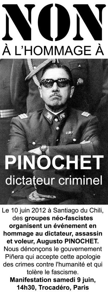 Afiche francés contra el homenaje a Pinochet