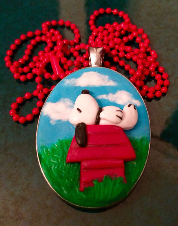 Ciondolo Snoopy necklace fimo polymer clay handmade