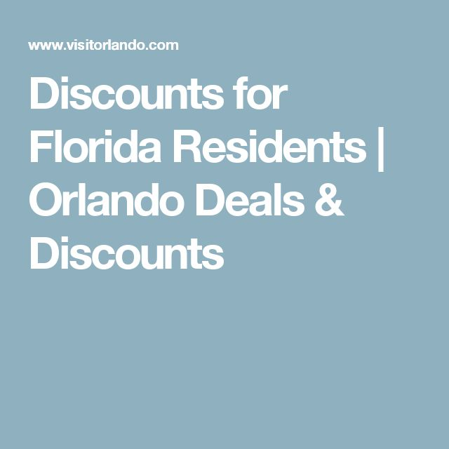 Discounts for Florida Residents | Orlando Deals & Discounts