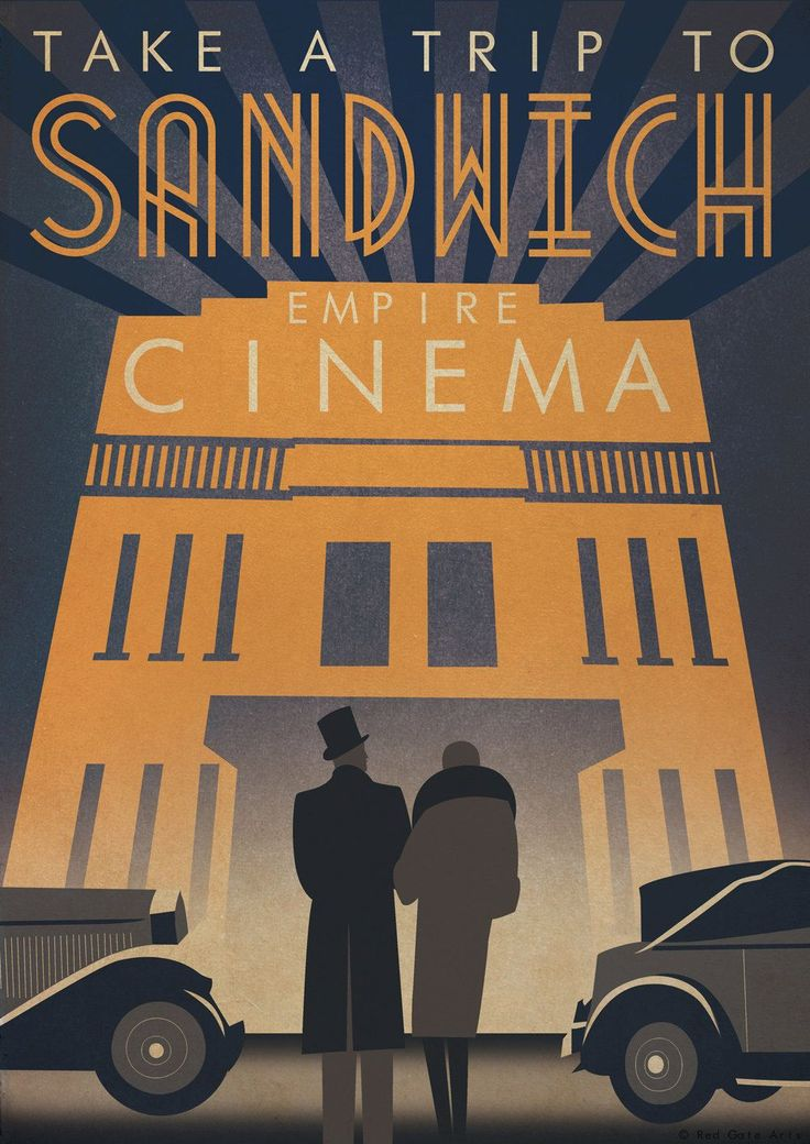 Original Design Art Deco Bauhaus A3 Poster Print Vintage Sandwich Cinema 1930's Car Architecture 1940's Vogue. £12.50, via Etsy.
