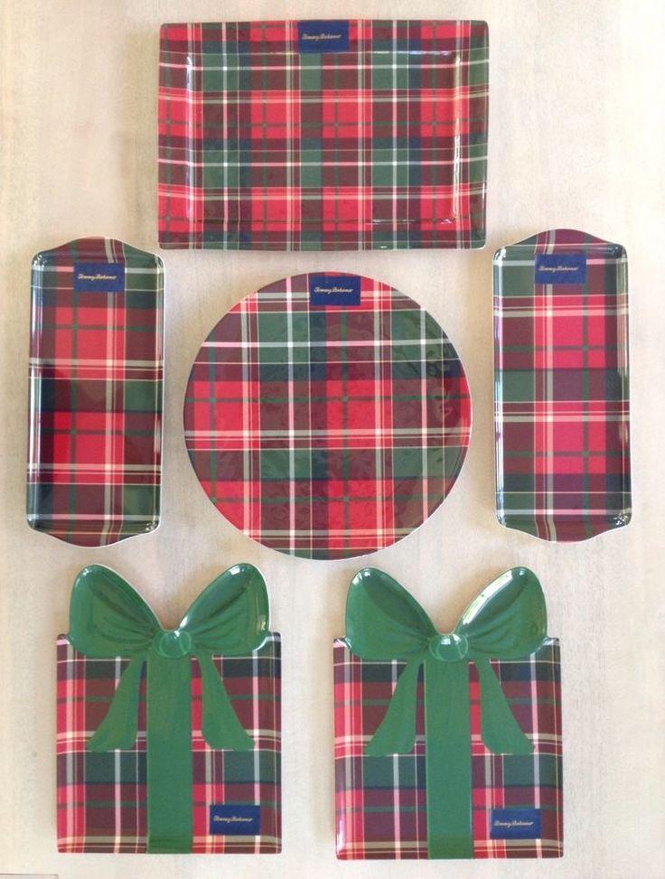 NEW Tommy Bahama Christmas Tartan Plaid Melamine Serving Dishes ~ Set of 6  #TommyBahama