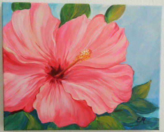 Original Hibiscus Painting Pink Hibiscus Canvas Flower Canvas Painting Custom Flower Gift Gift F Flower Painting Flower Drawing Flower Painting Canvas