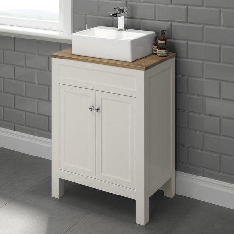 600mm Melbourne Ivory & Oak Effect Countertop Unit & Basin [PT-MV1000TO] - £299.99 : Platinum Taps & Bathrooms